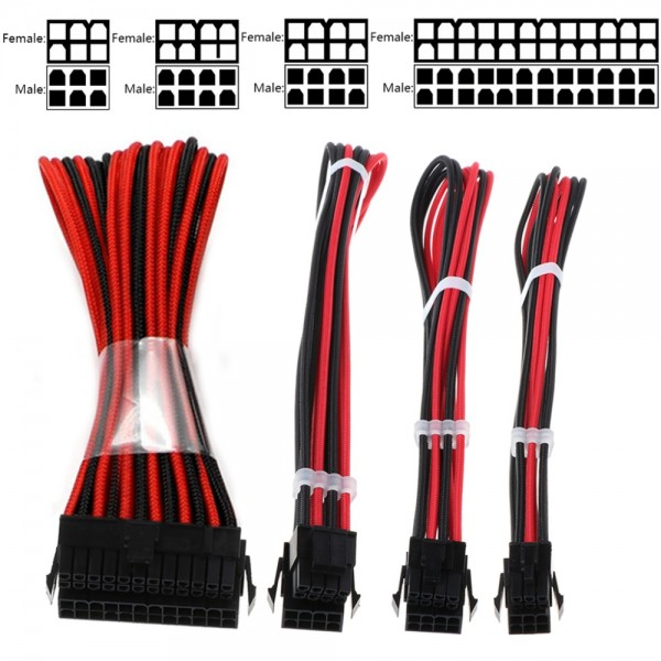 LPC Red and Black Sleeved Extension Cable Kit - 24Pin ATX, 4+4Pin EPS, 6+2Pin PCI-E, 6Pin PCI-E, Combs