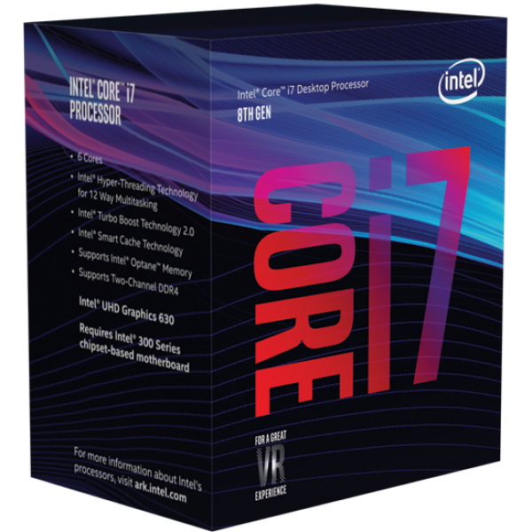 Intel Coffee Lake Core i7 8700K 6 Core/12 Threads Unlocked Processor - 3.7Ghz, LGA 1151, No Cooler Included