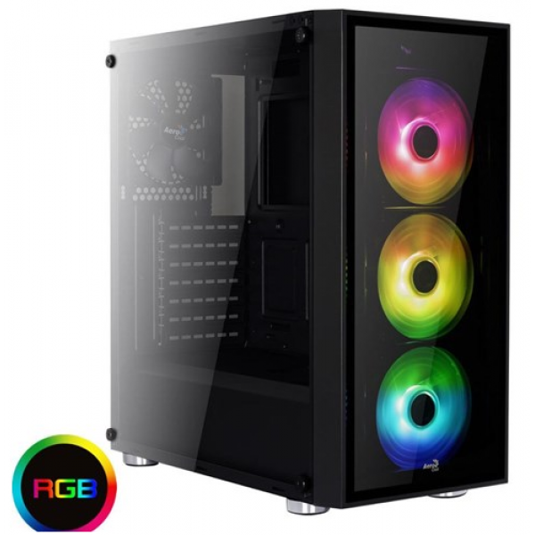 Aerocool Quartz RGB Mid Tower Tempered Glass Side Panel - 3x RGB Fans Included