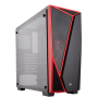 Corsair Carbide Series SPEC-04 Tempered Glass Mid Tower Gaming Case - Black/Red