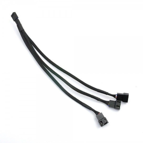 1 To 3 Way Splitter Sleeved 4-Pin Male PWM to 4Pin Fan Adapter Extension Cable ~